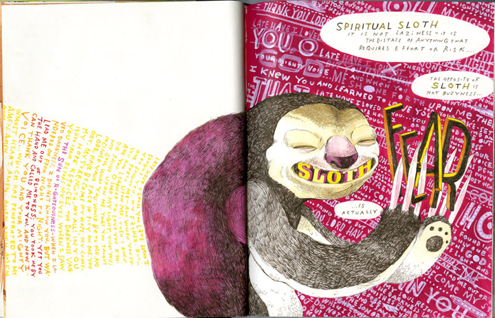 sloth, drawing, magenta, watercolors, journal