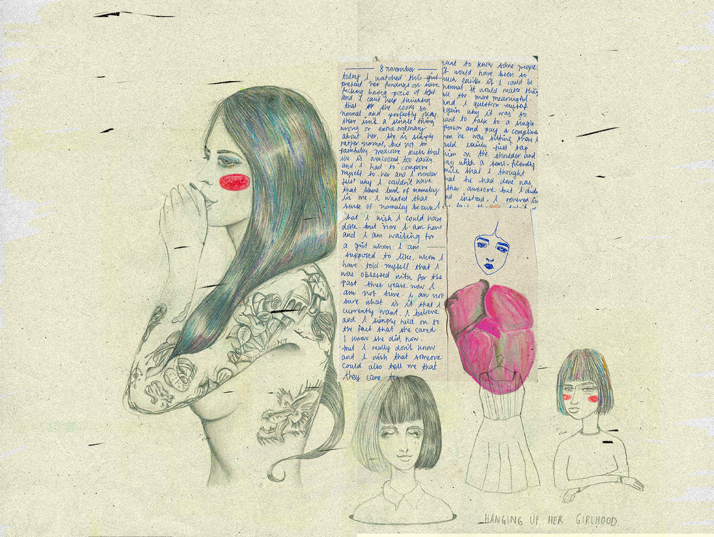 rainbow hair, tattoos, womanhood, doodles, diary