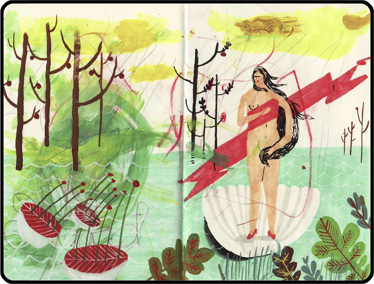 sketchbook paint doodle, woman painting, in the woods, patterns sketch