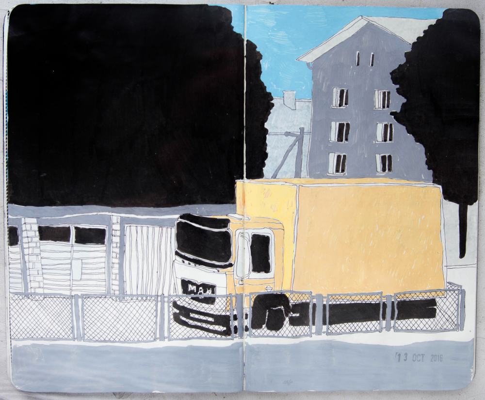 truck, yellow paint, blue sky, street sketch