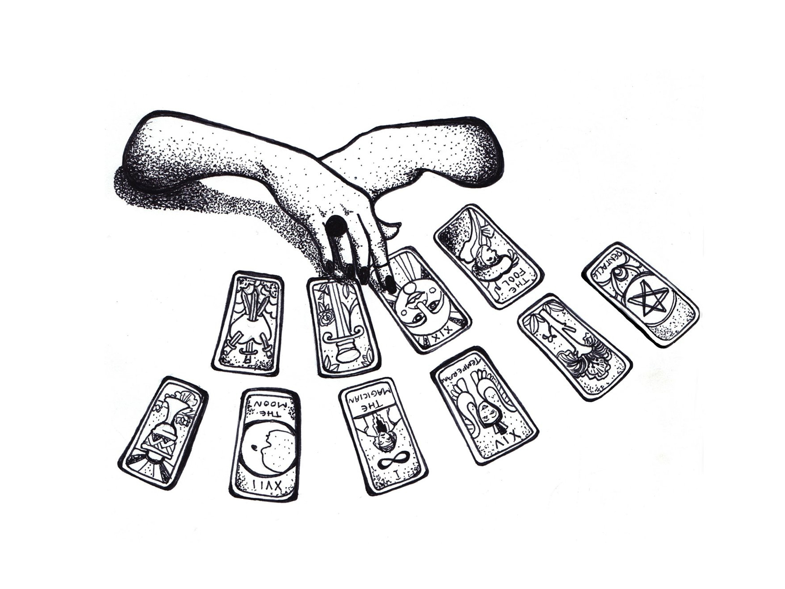 tarot cards, stippling, hands, occult, doodles