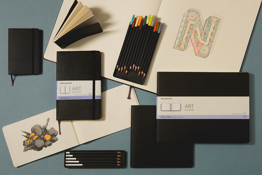Sketchbook Collection for Artists, including coloring pencils