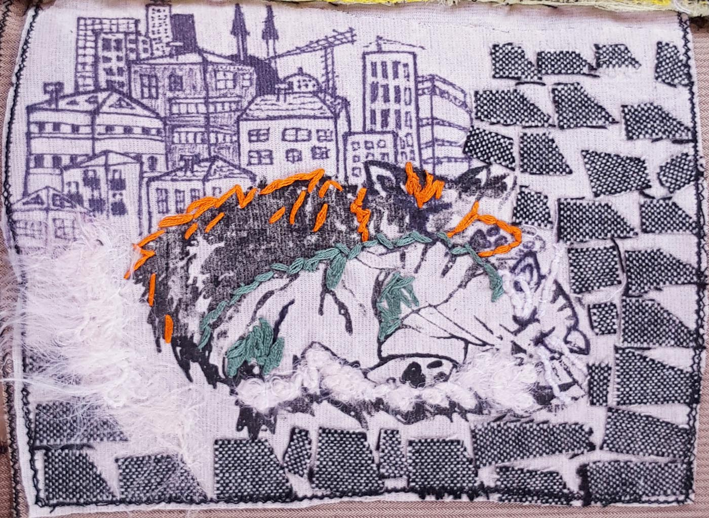 sewing sketchbook, textile drawing, cat drawing