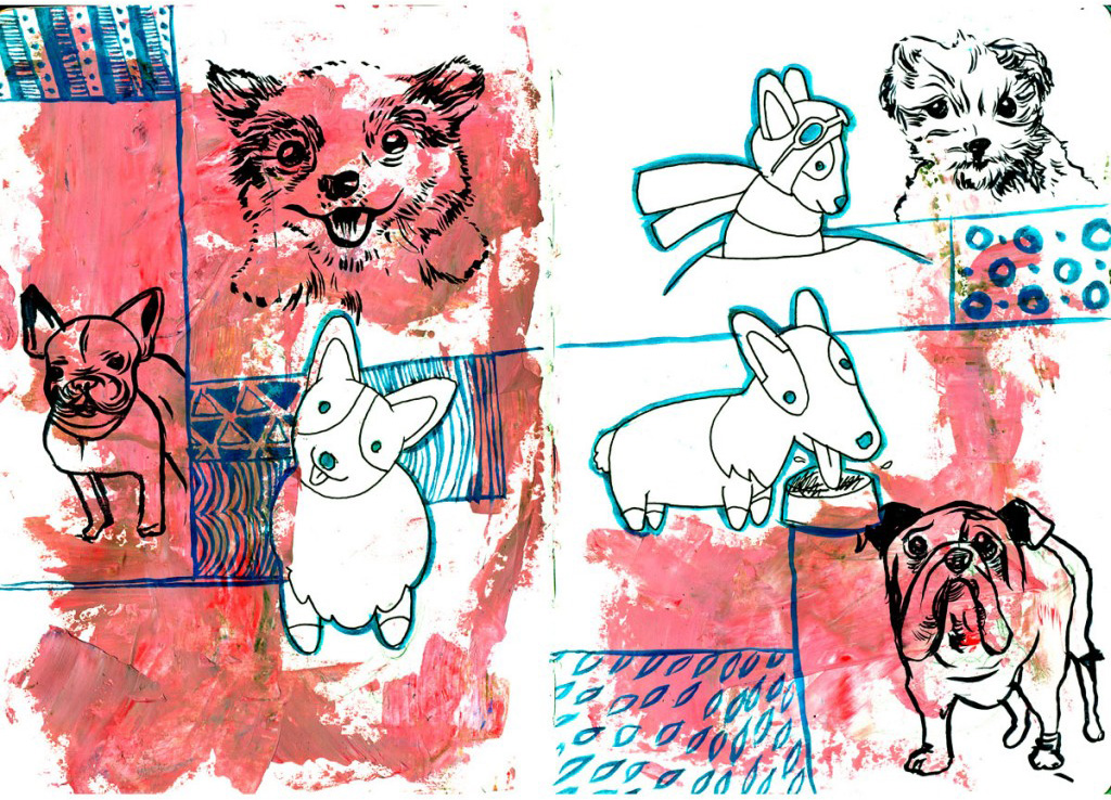 dogs, drawing, patterns, sketchbook, mixed media, pink, blue