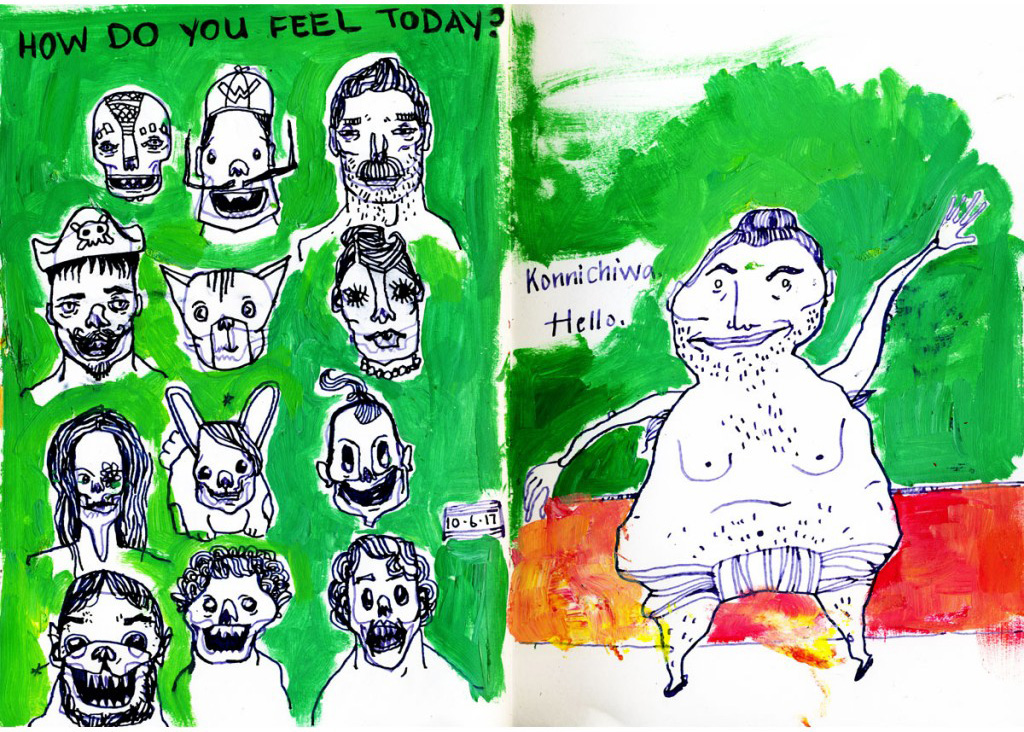 feelings, emotions, illustrated, characters, green, sketch