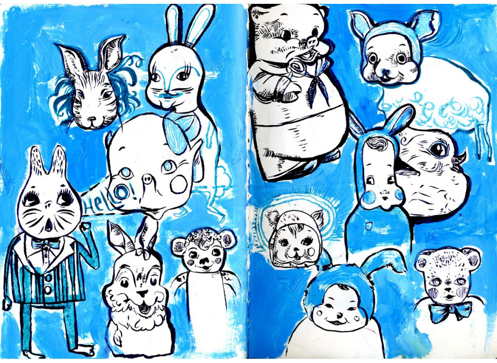 blue, waterbrush, acrylic, ink, animals