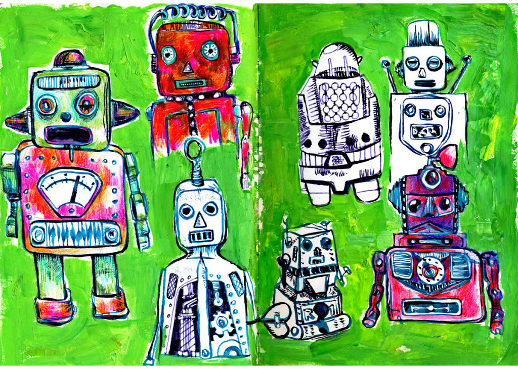 robots, colorful, acrylic, ink, multicolor