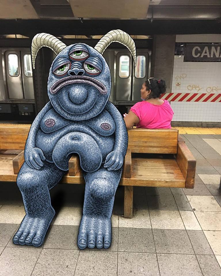 Monster Siting on NYC Bench