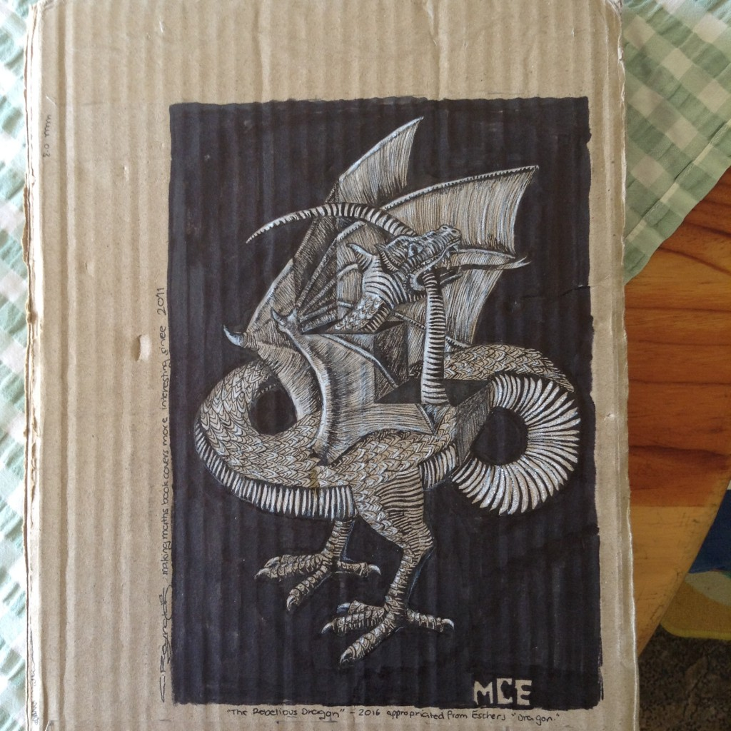 Cardboard used to created  a dragon illustration