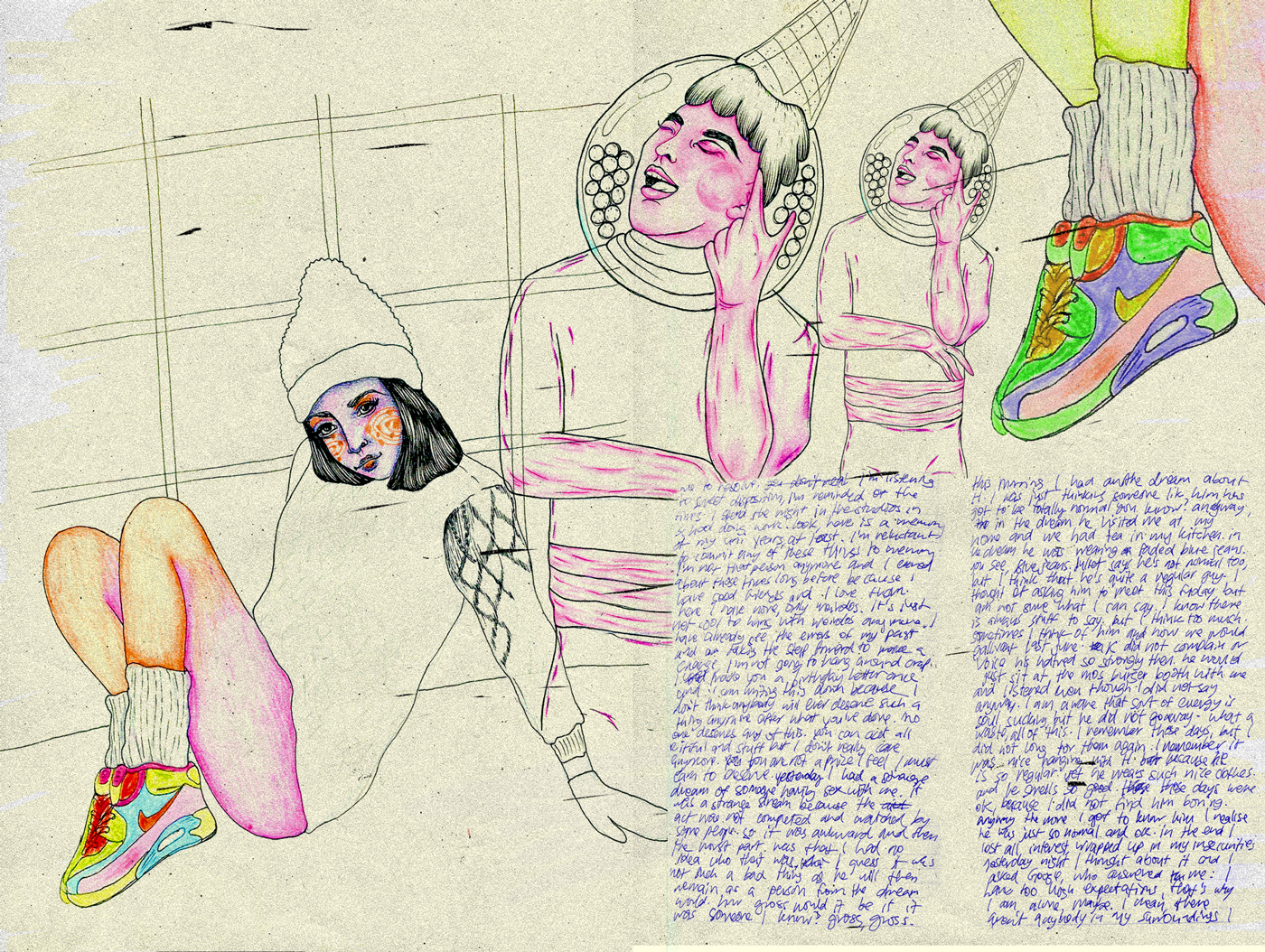 nikes, colored pencil, art journal, mystical, cosmic, portraits