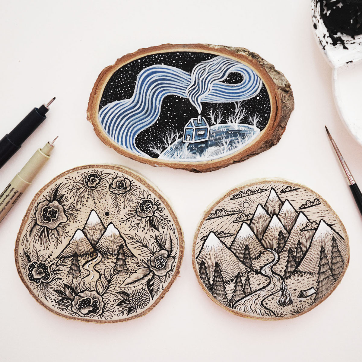 dreamlike, wood painting, illustration, draw