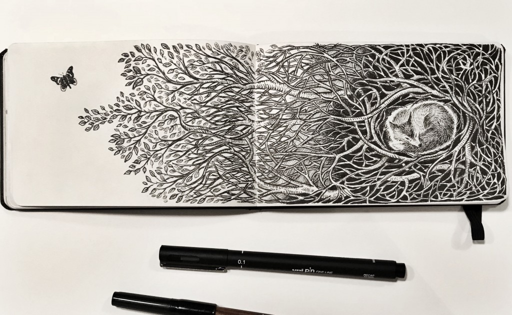 Drawing spread on a Moleskine sketchbook