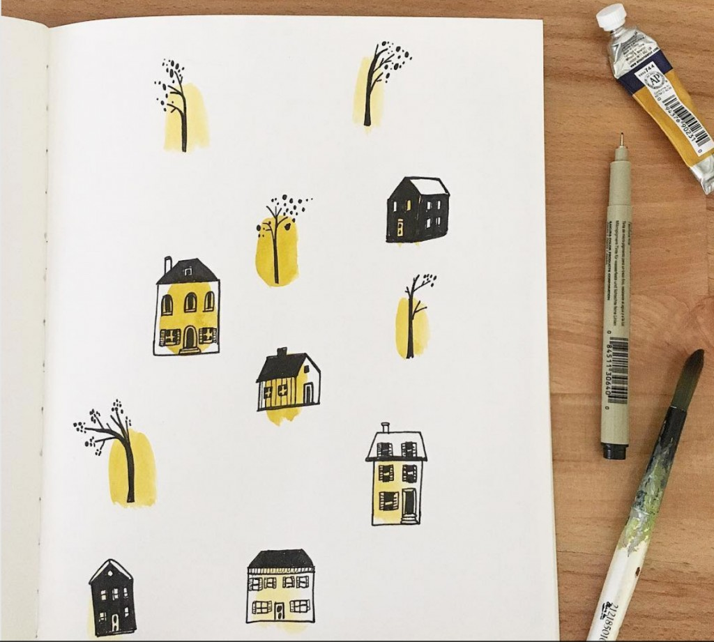 architecture doodles, watercolor, detail, marker, house drawing