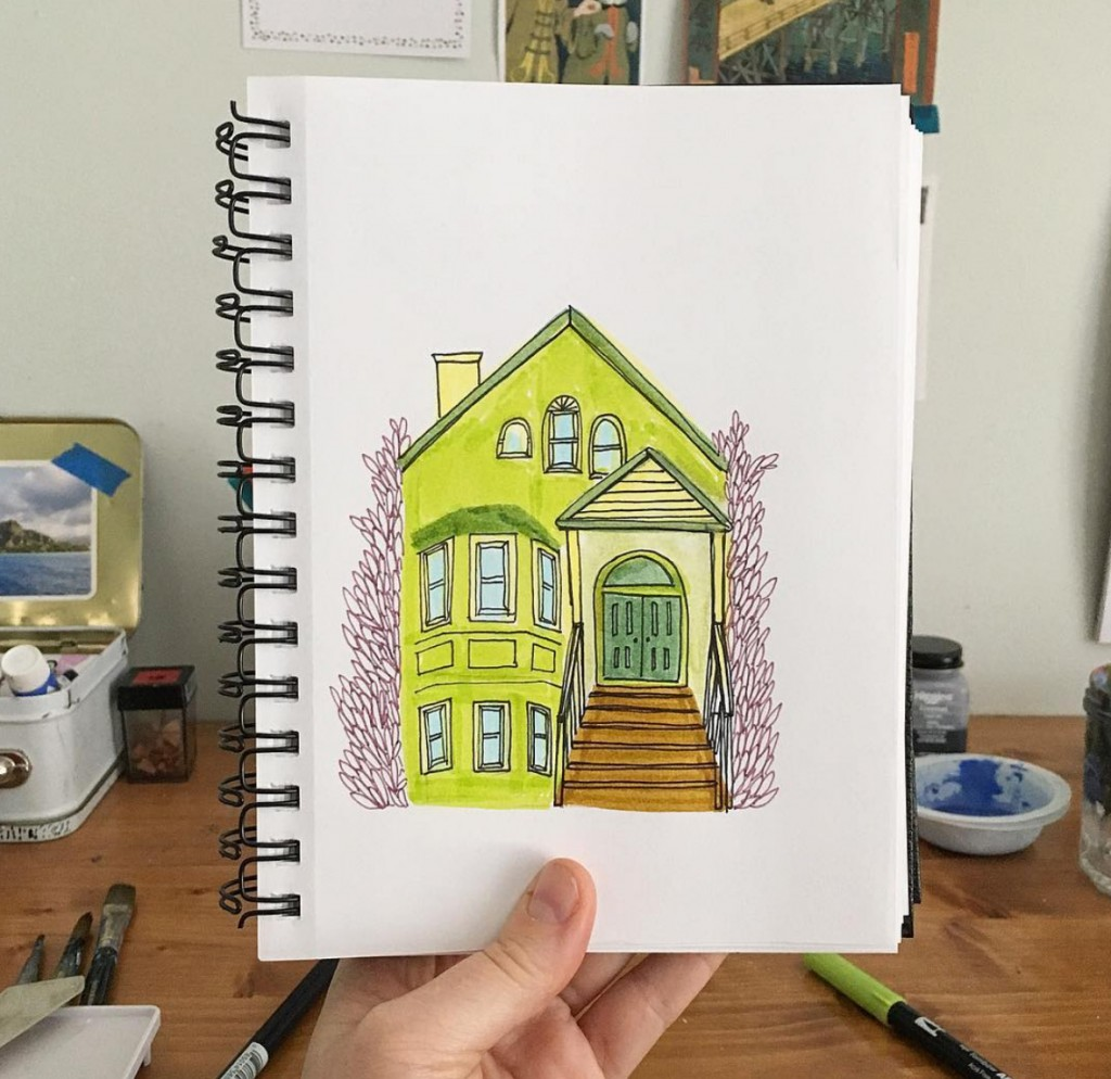 home, tombow, green house, illustration
