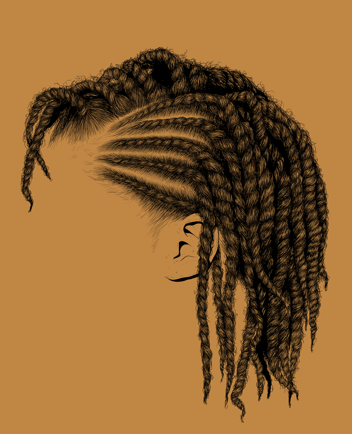 detail, hair, draw, illustrate, vectorize