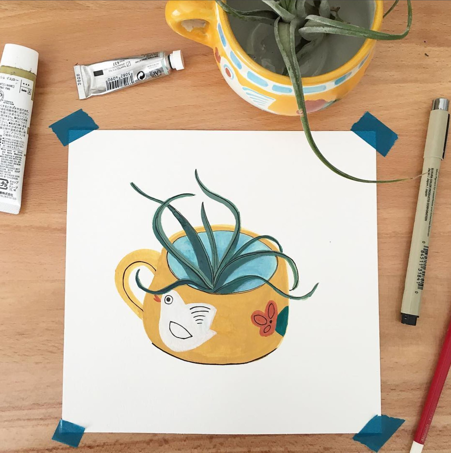 decor doodle, pottery drawing, plant illustration