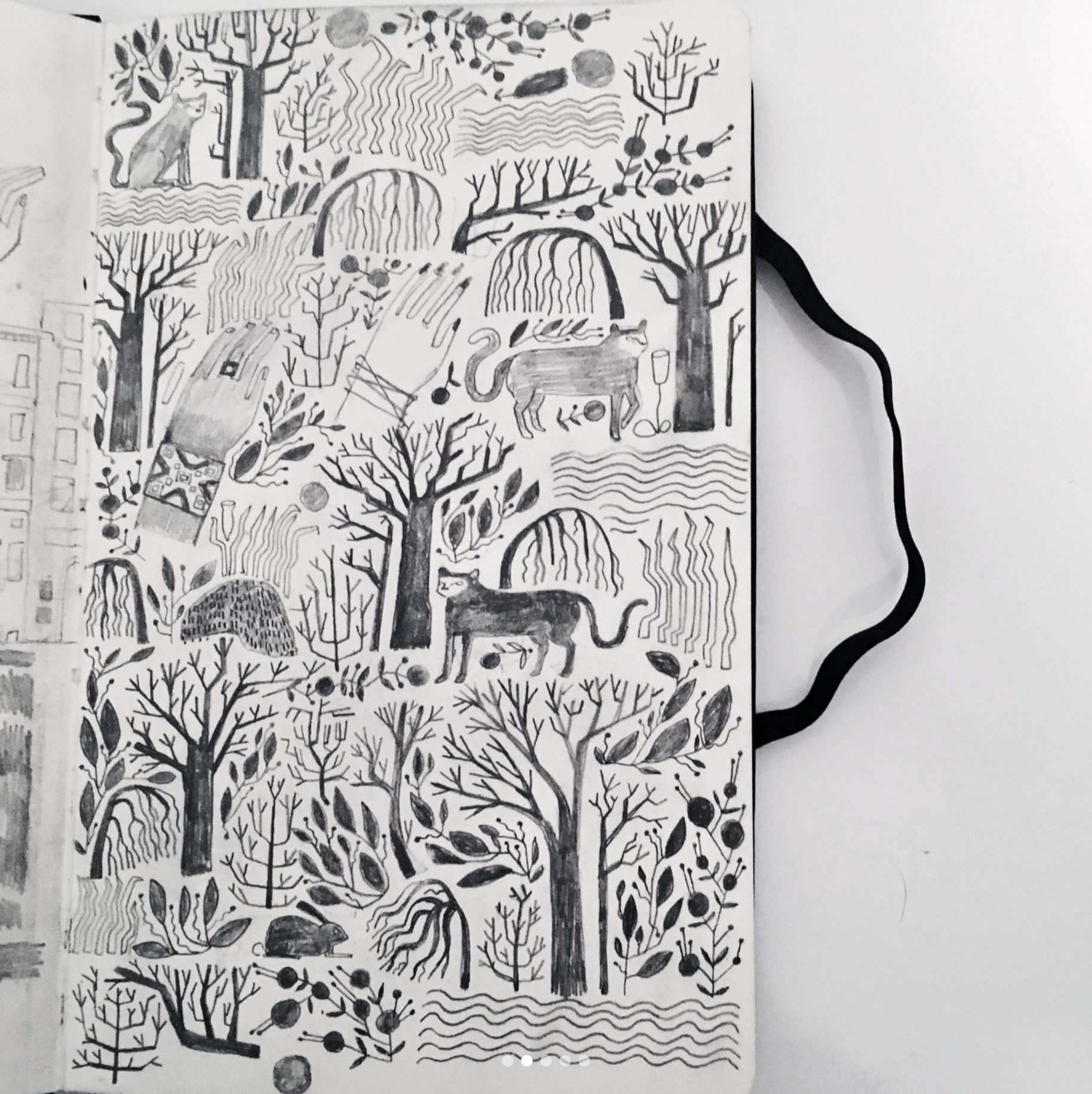 patterns, sketchbook, practice, full, page, trees, hand