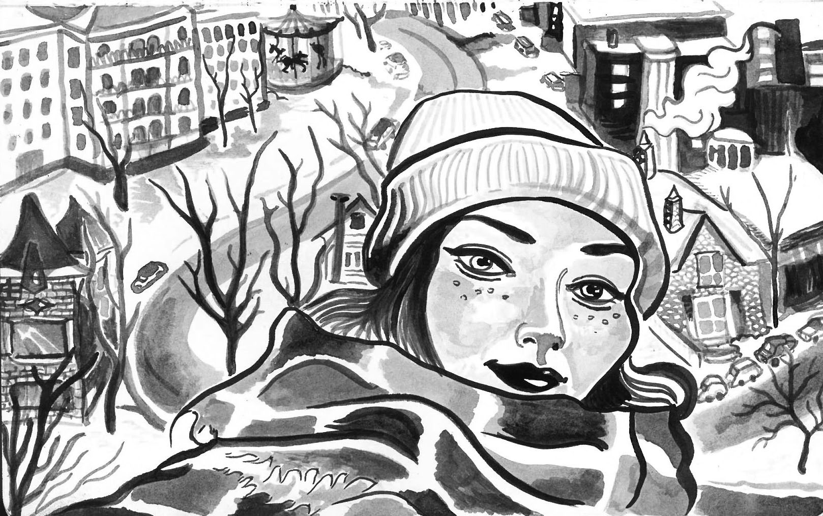portrait, brush pen, india ink, female, cold, doodle