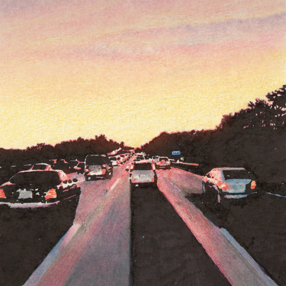drawing in traffic, traffic jam sketch, quick sketch in traffic, quick drawing on the road, sunset colored pencil