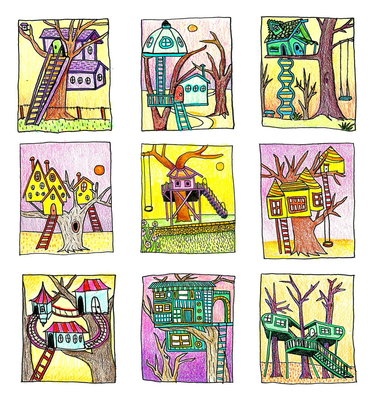 colorful series, hand drawn architecture, nostalgic sketchbook, childhood drawing, treehouse
