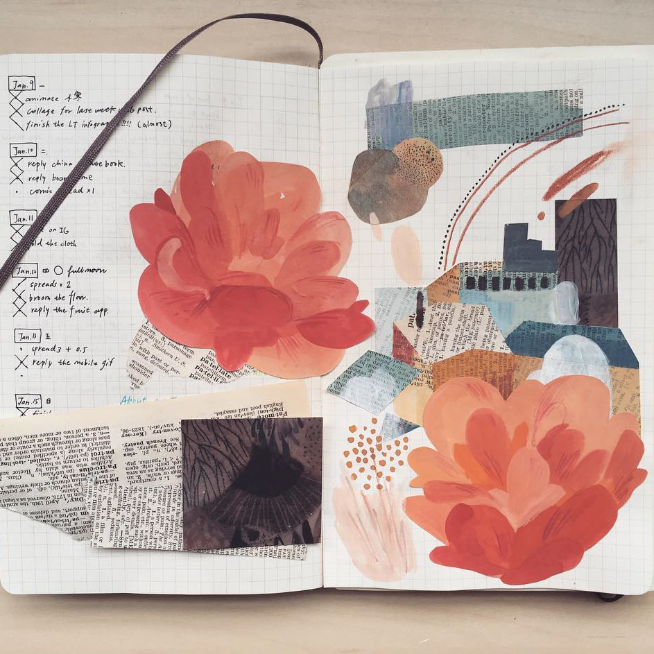 flower and newspaper collage