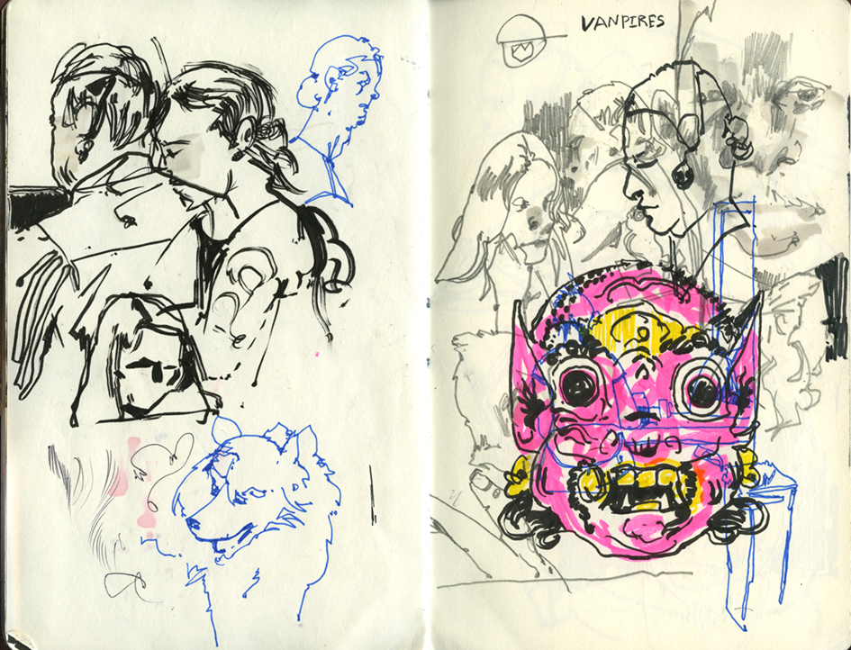 marker sketches, pops of color in sketchbooks, mask drawing