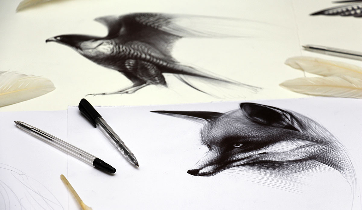 Ballpoint Pen Animal Drawings