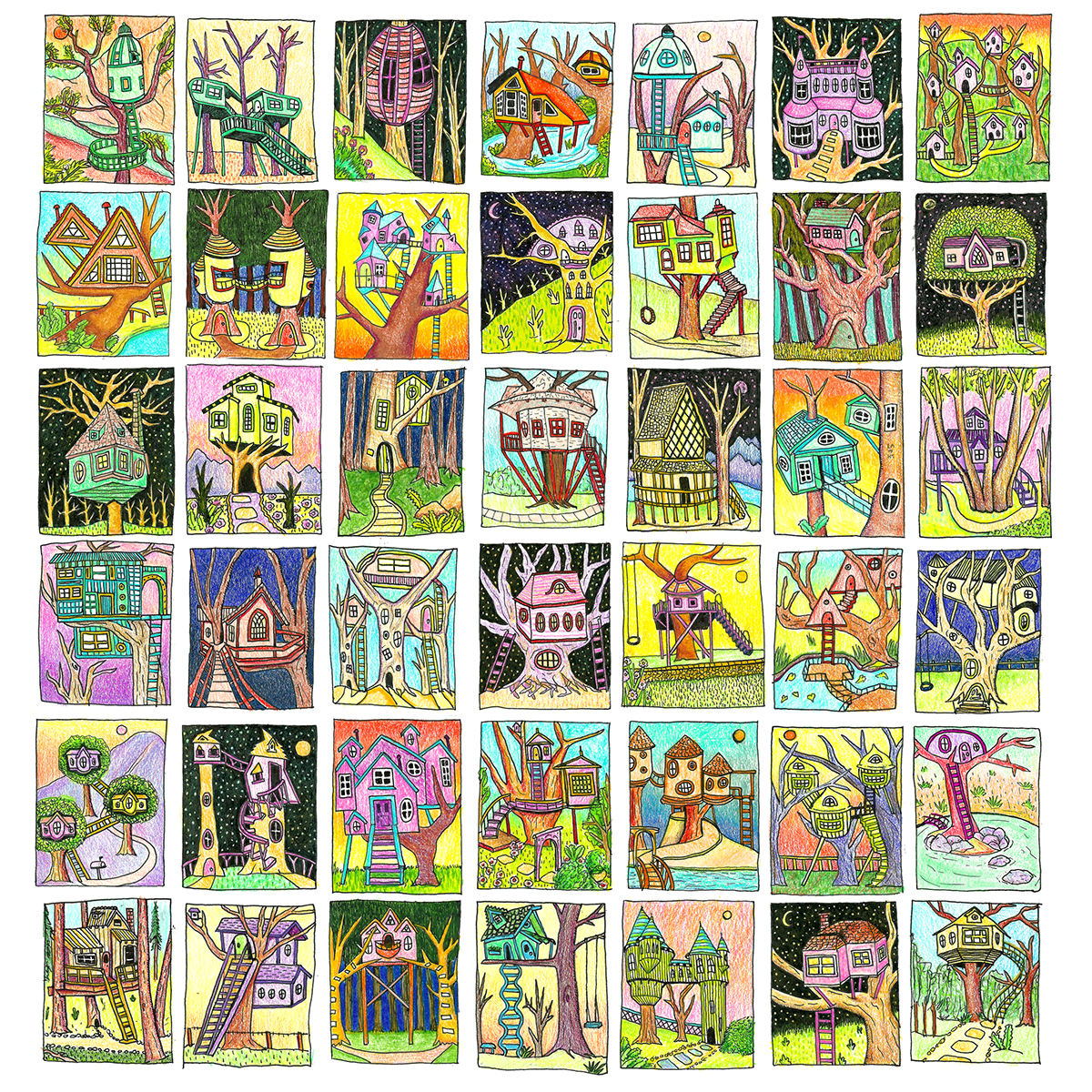 colored pencil thumbnails, how to draw a treehouse, architecture drawing, woods