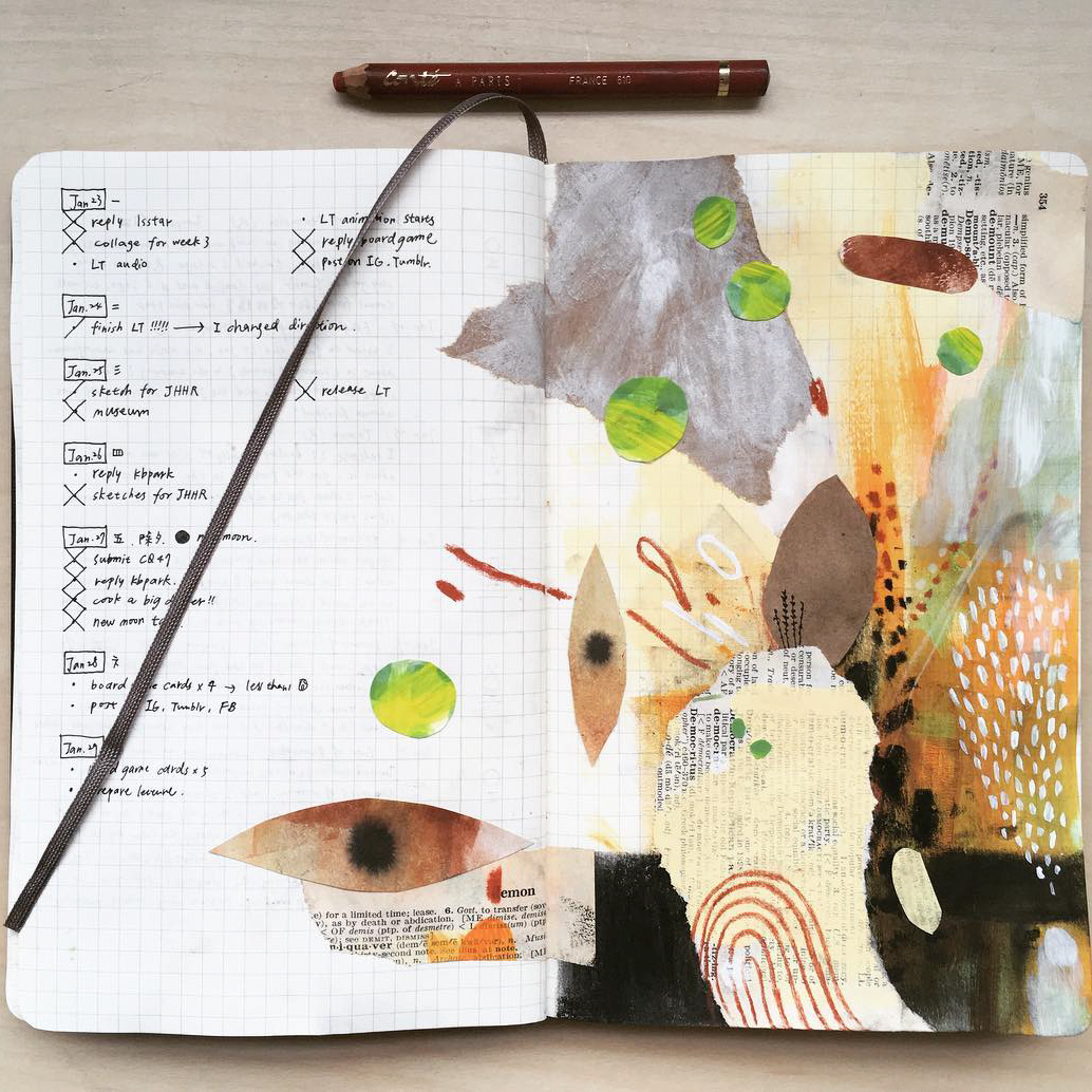 sketchbook filled with collages