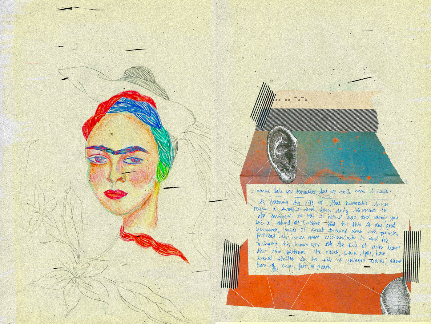 frida colored pencil, frida kahlo drawing, collage, journaling