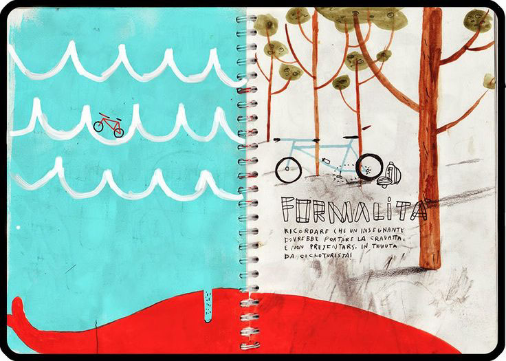 bicycle painting, sketchbook, doodling, doodling with children