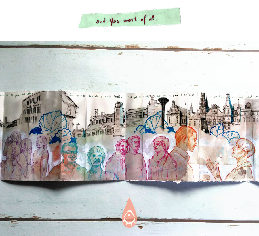 city collage, architectural sketch, colored pencil people, art journal
