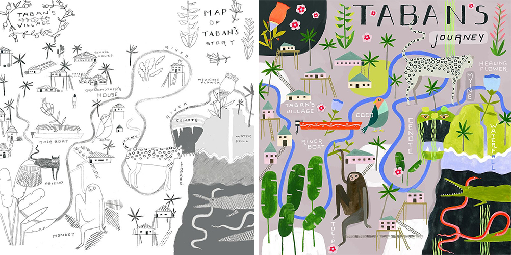 illustrated map, drawing, taban, story