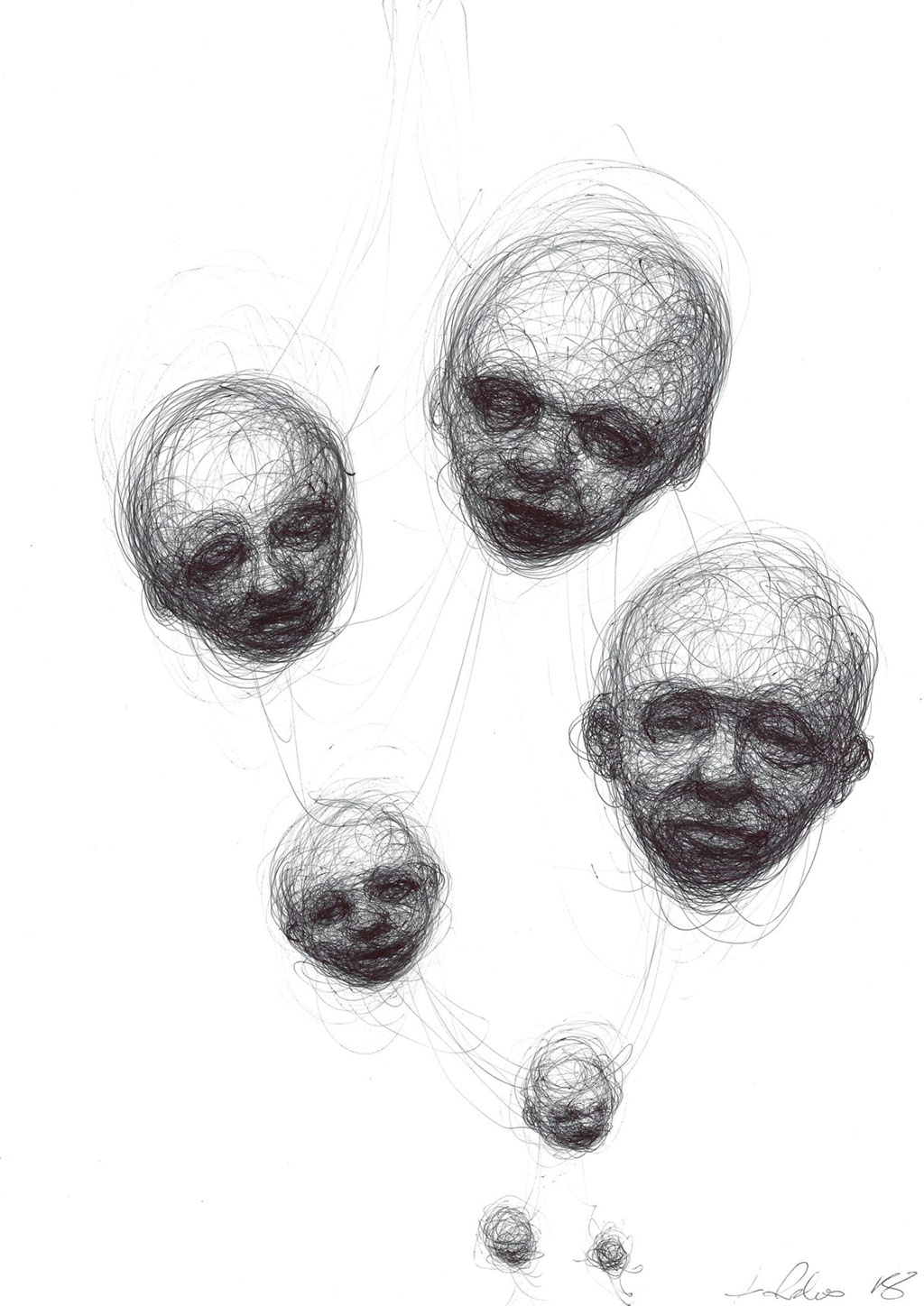 Ballpoint pen drawing of 7 heads getting larger as they reach the top of the page