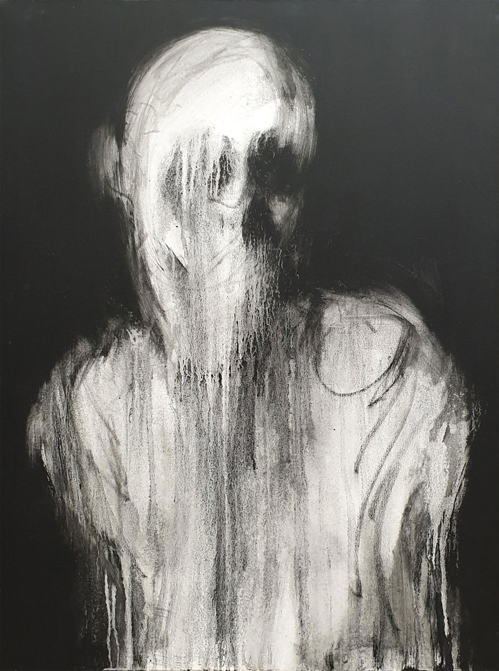 Acrylic painting of a silhouette of a man with the face seemingly melting down the page