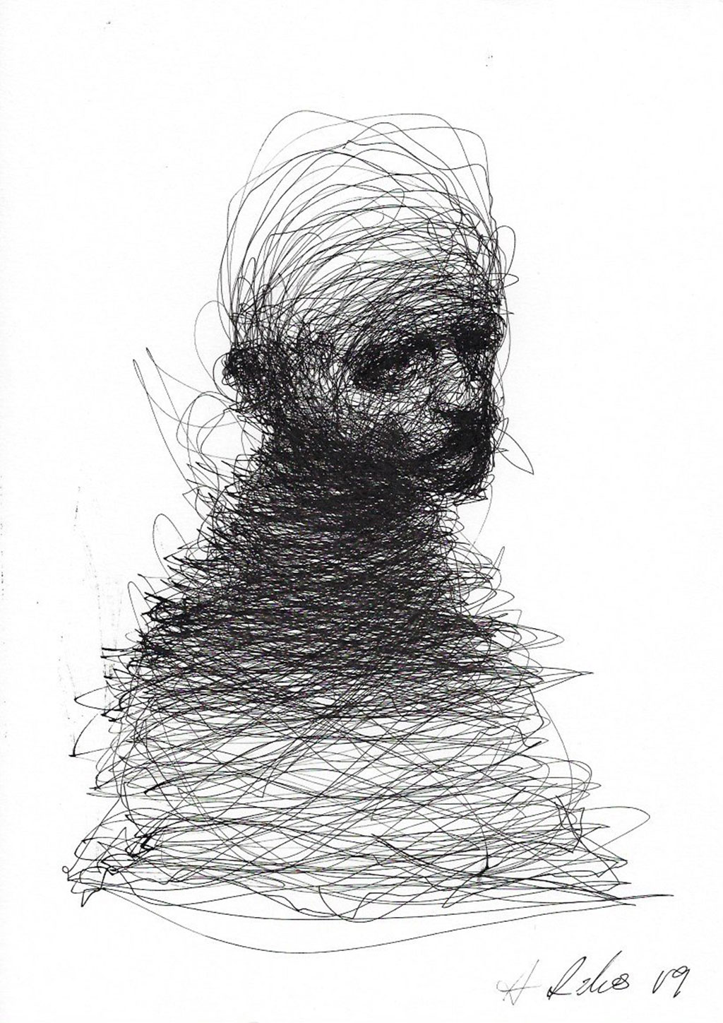 Ballpoint pen drawing of the profile of a figure of a man