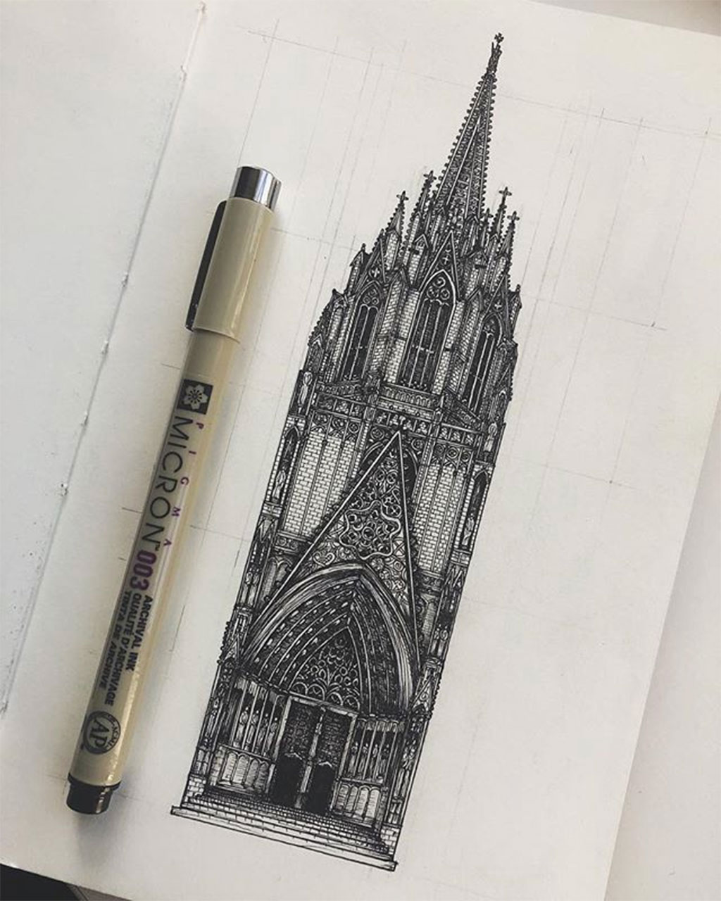 Drawing of a section of Barcelona's Cathedral