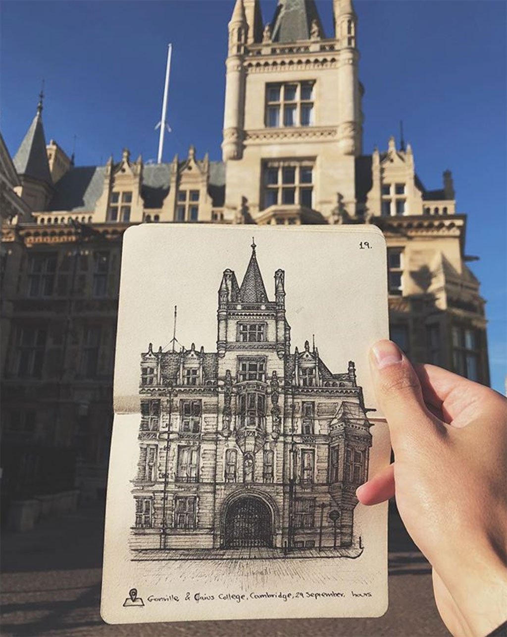 Drawing of the Gonville & Caius College in Cambridge, UK compared to the real building.