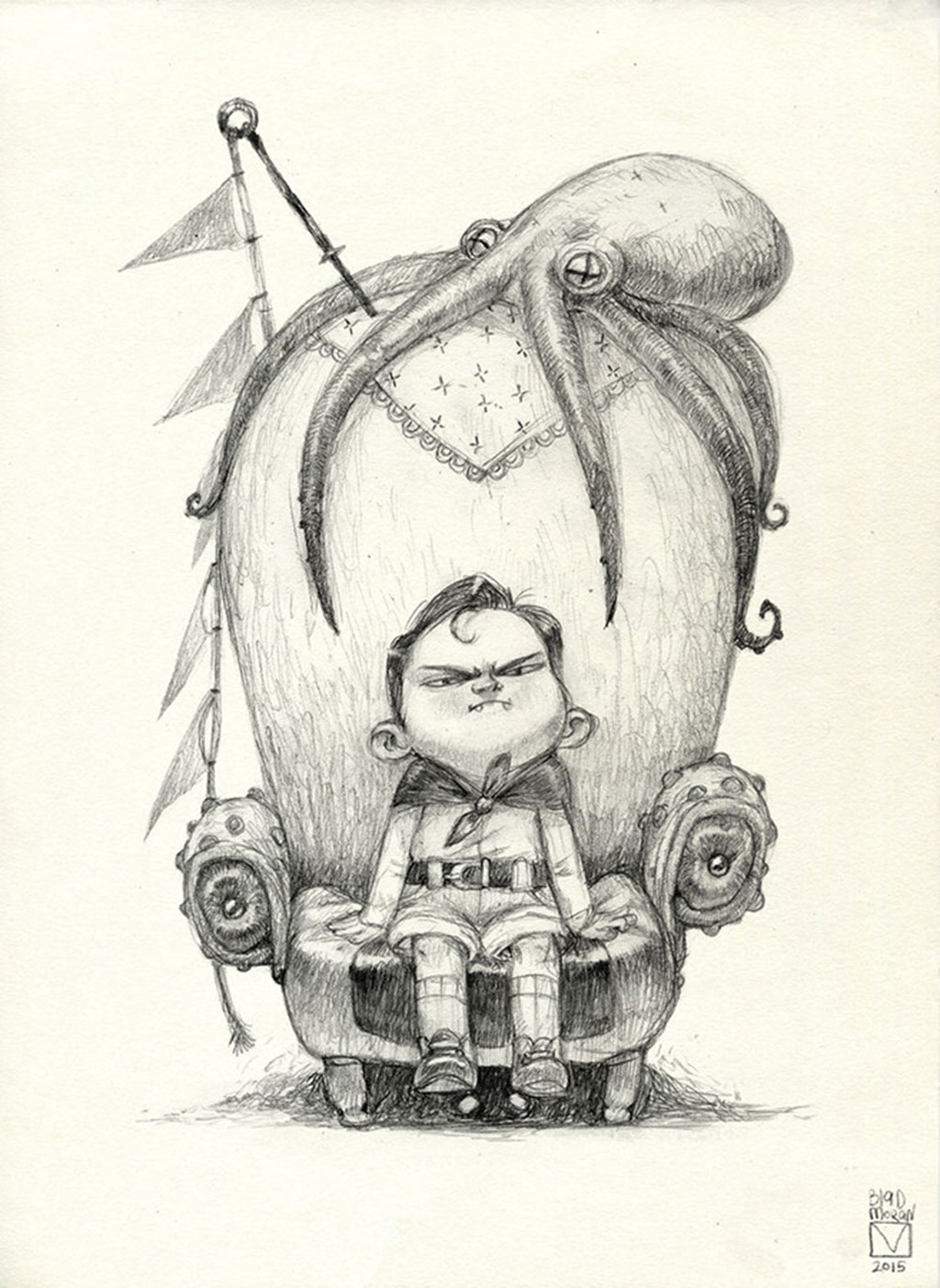 Drawing of Little Boy Character named Little Eddy Thunderbottom sitting on an oversized chair accompanied by an Octopus