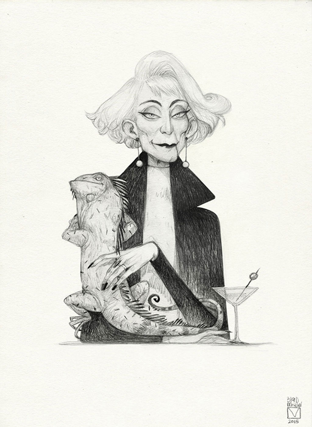 Drawing of a Character named Marina Lizardhard with a Martini and Iguana perched on her arm