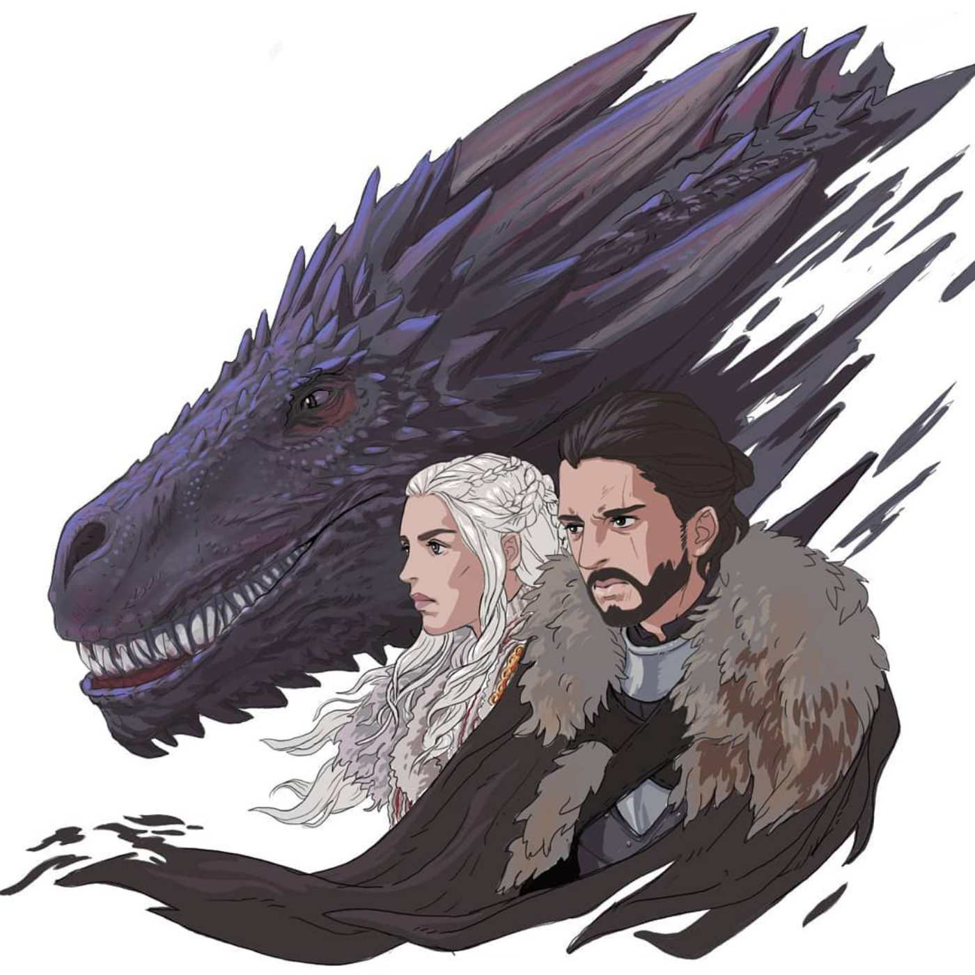 Animation Art Of Power Couple With Dragon