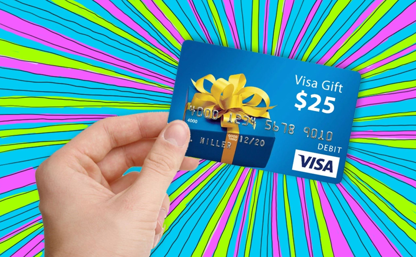 Image of a visa giftcard showing the prize of $25 with a colorful background