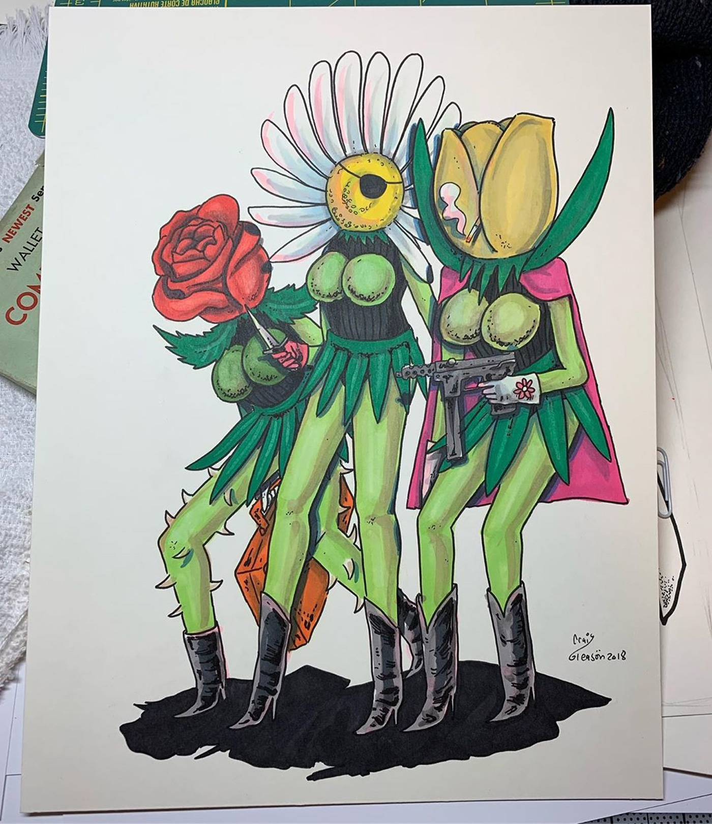 Drawing Of Girl Flower Power with Monster Illustration