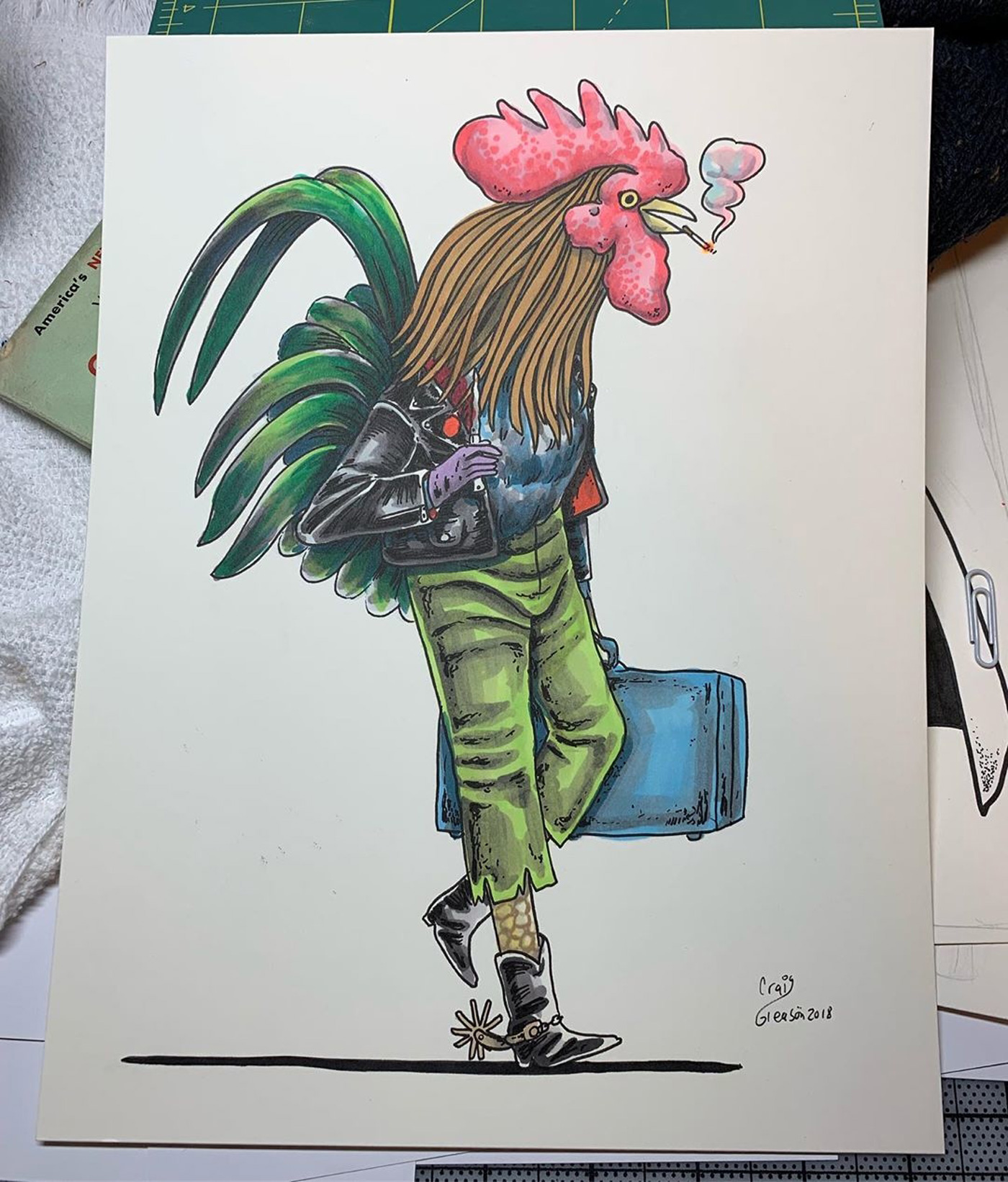 Drawing of Cock walking with Luggage