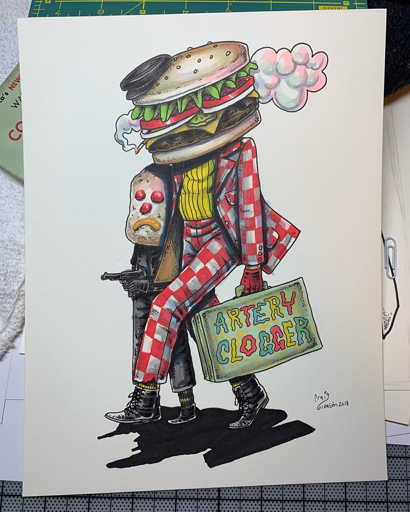 Illustration of Burger Monster With Luggage Hoarded Artery Clogger