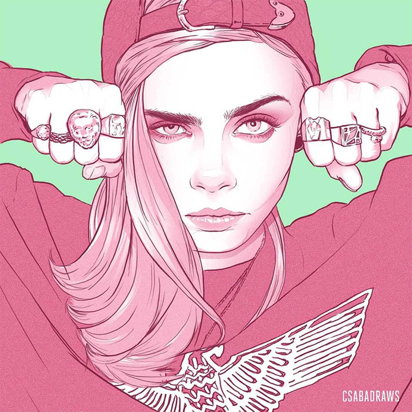 Drawing of a Girl With Cap and Eight Rings
