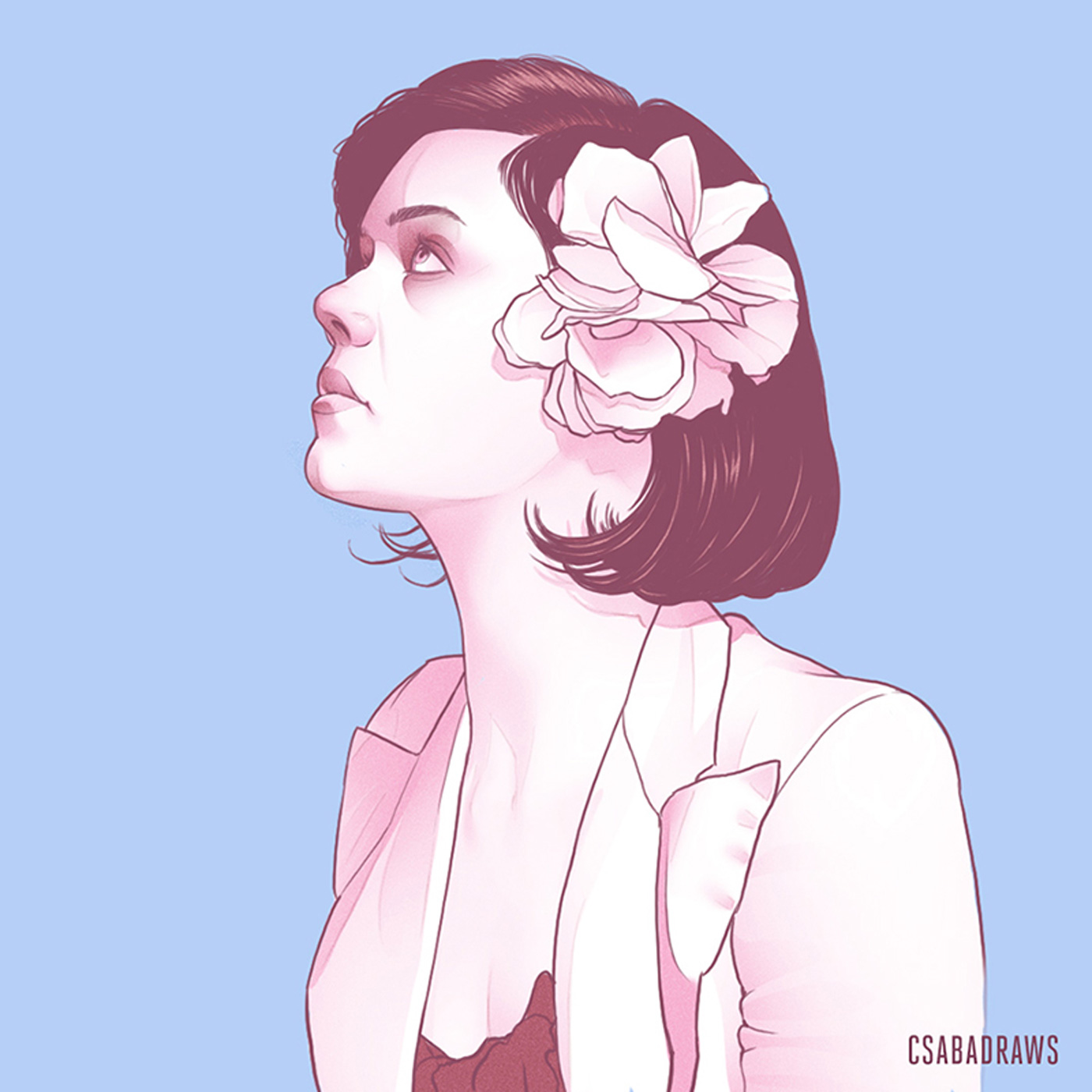 Drawing of a Girl With Short Hair and Flower Pin In Hair