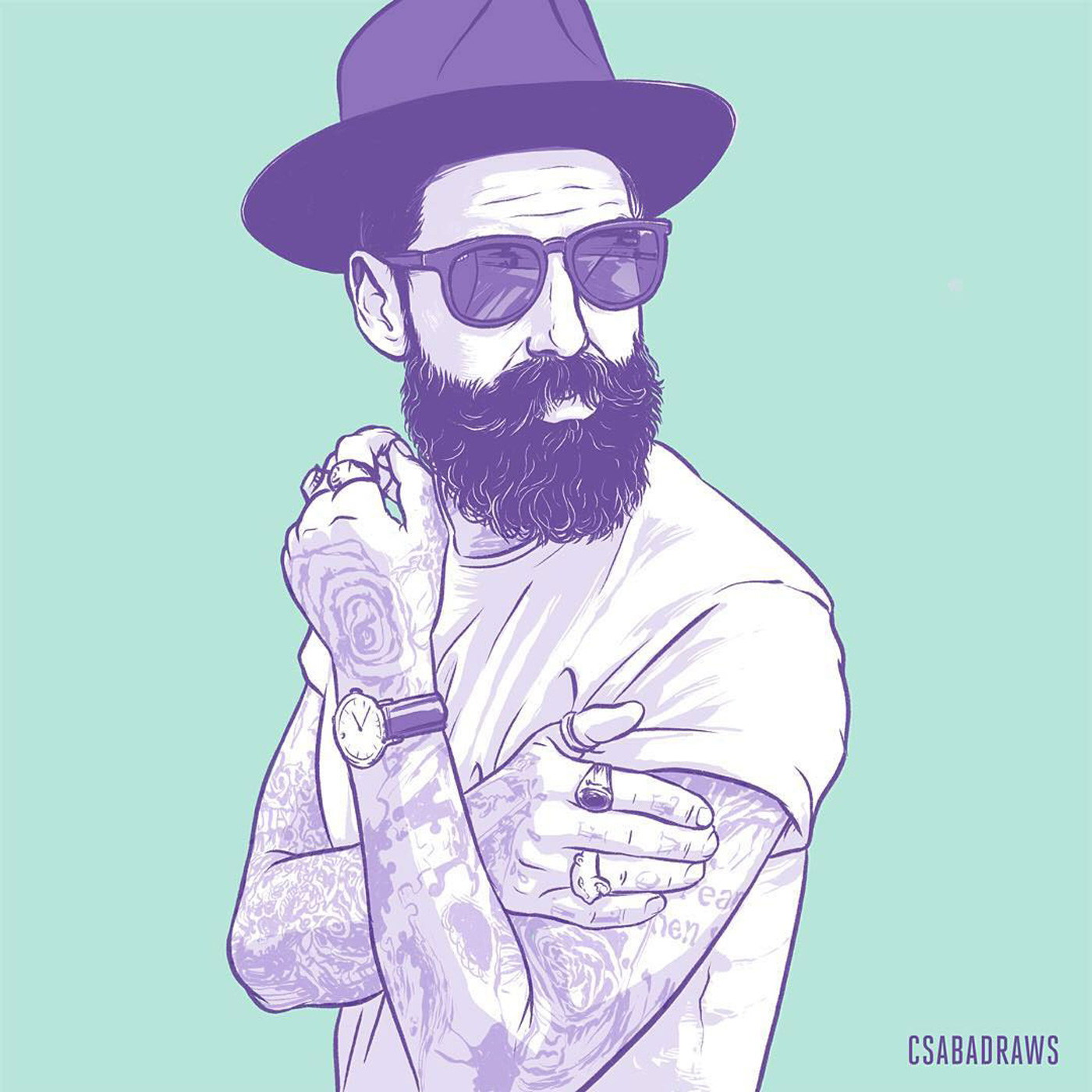Drawing of a Guy With Hat, Beard and Sunglass