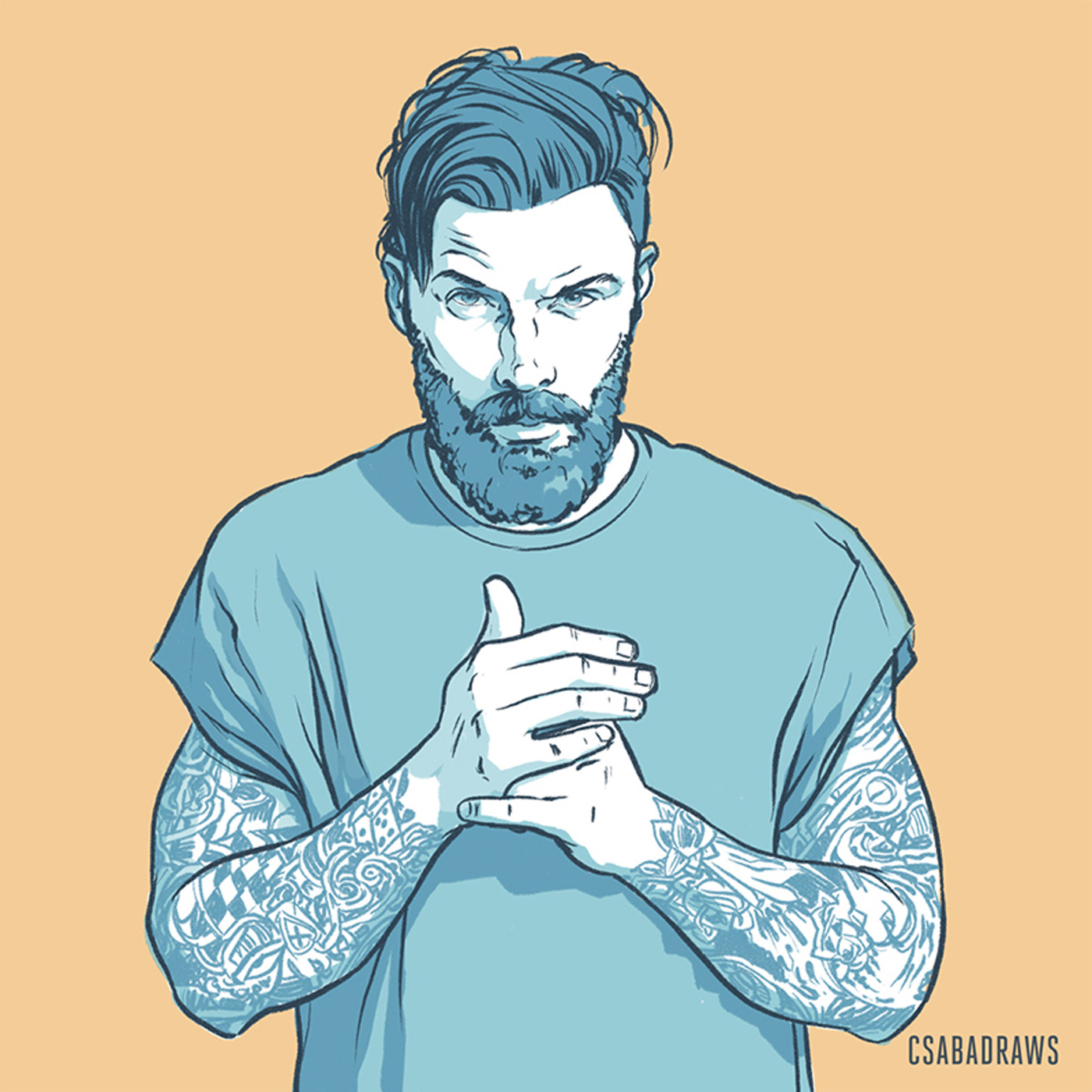 Drawing of a Guy With Tattoo and Beard