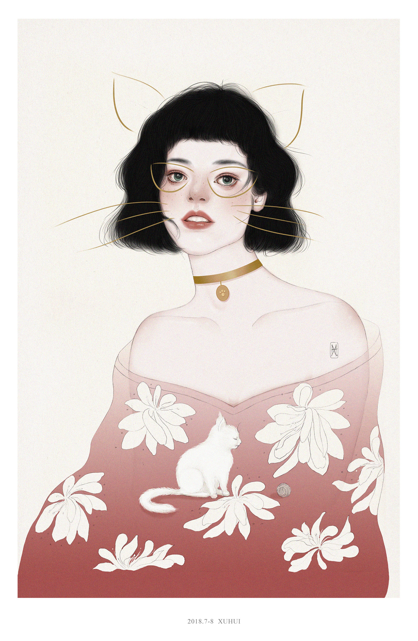 Drawing of a Beautiful Girl Wearing a Cat and Flower Printed Top